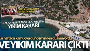 Assos'taki kaçak restoran ve plaj için yıkım kararı